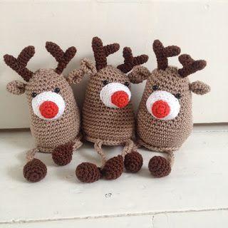 Druk,druk,druk...veel haken voor de kerstfair voor volgende week.. dus even een quickie vandaag.. ;) Drie rendiertjes! Ze zijn al dikke ...