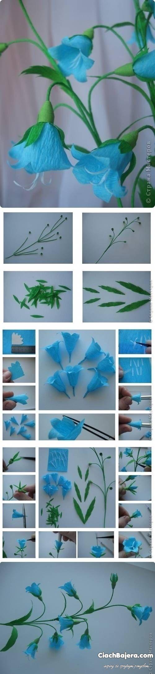 Niebieskie kwiaty z bibuły
