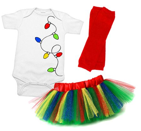 Christmas Lights Tutu Set. No babies in my house, but I'm thinking this is a good inspiration to make something similar for my 5 year old! White shirt, paint on lights, add glitter, and diy tutu with leggings!