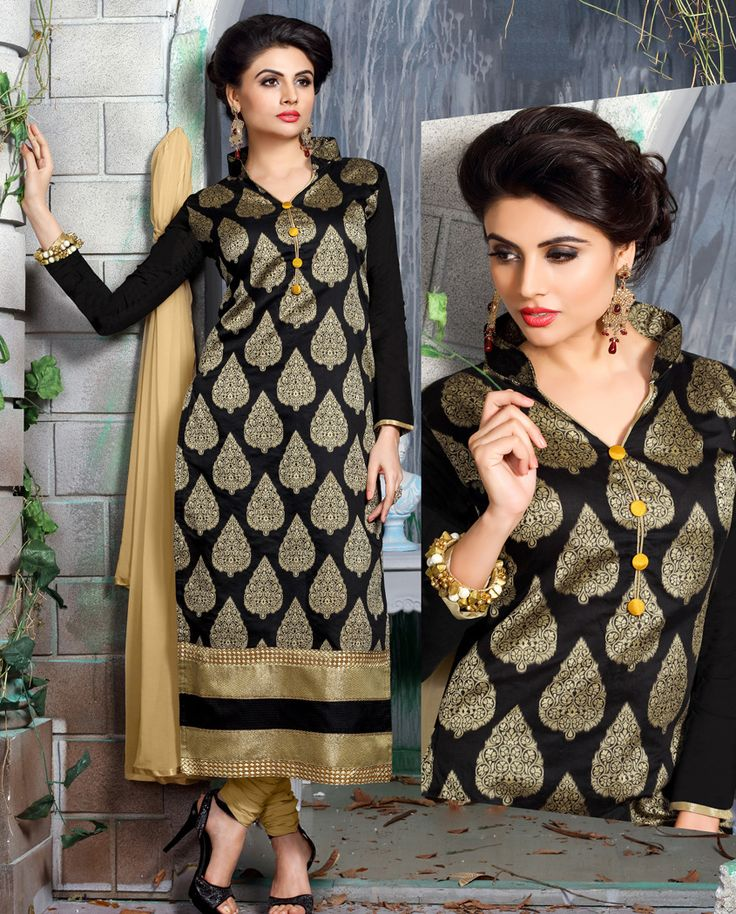 1. Black Chanderi suit 2. Highlighted with golden zari weaved motif and shimmer border 3. Comes with cotton bottom and chiffon dupatta 4. Can be stitched up to size 42