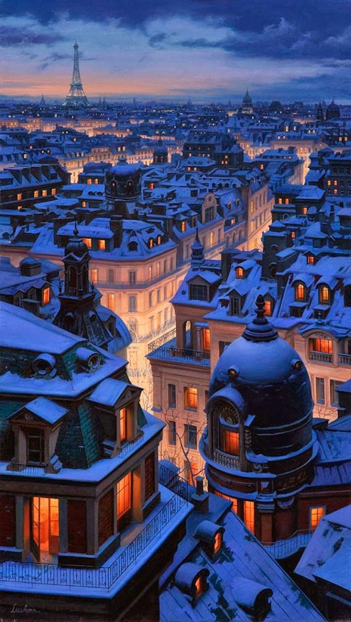 Winter in Paris Over The Roofs Of Paris | by Evgeny Lushpin