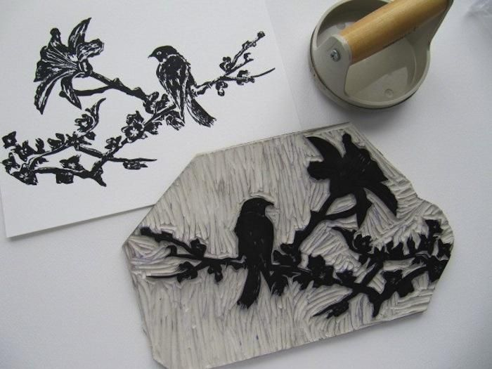 Sparrow Linoleum Block Print
