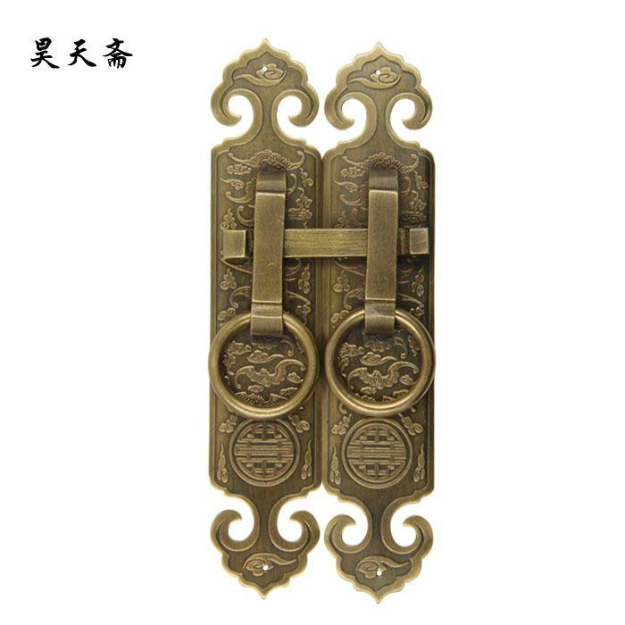 155.00$  Buy here - http://alibay.worldwells.pw/go.php?t=32423513114 - [Haotian vegetarian] bronze antique brass door handle with screen doors and fan antique copper bolt handle