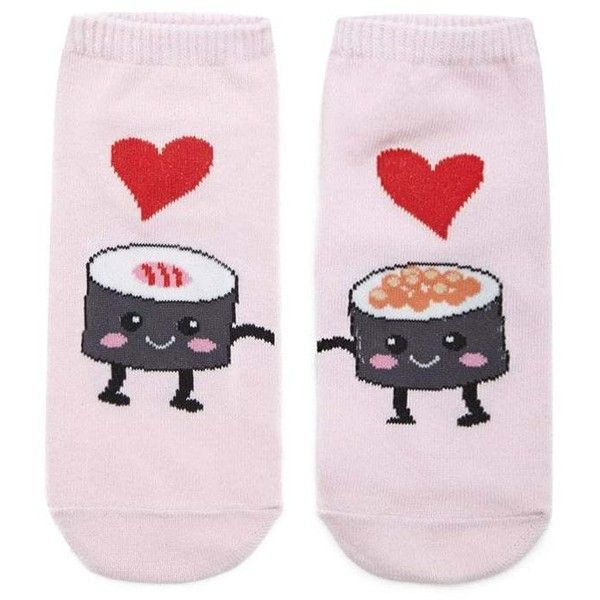 Forever21 Sushi Love Ankle Socks ($1.90) ❤ liked on Polyvore featuring intimates, hosiery, socks, cotton socks, short socks, forever 21 socks, ankle socks and tennis socks