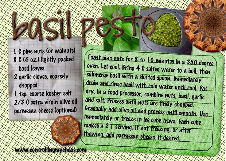 Controlling My Chaos: preserving food: Mmmm Food, Chaos, Eat Healthy, Pesto Recipe, Healthy Food, Basil Pesto, Healthy Recipes, Favorite Recipes