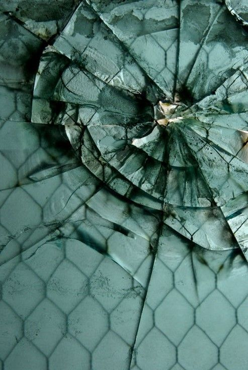 """Fisher Body 21"", #shattered glass in a former auto body repair factory, #Detroit."
