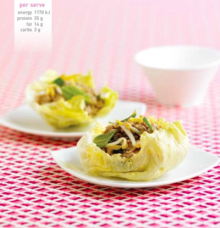 Chicken San Choi Bao. Recipe here: http://celebrityslim.com.au/recipes/chicken/chicken-san-choy-bow