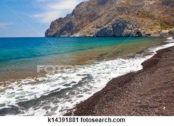 """Black Volcanic Beach at Kamari Santorini Greece"" - Beach stock photos available on Fotosearch.com"