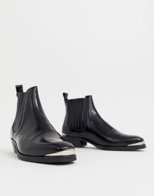 88236712ee1 DESIGN cuban heel western chelsea boots in black leather with metal ...