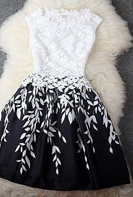 Leaf Print Lace Splicing Sleeveless Dress