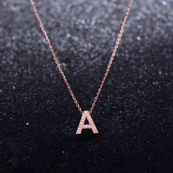 Solid 18K Gold Letter A Diamond Pendant With Chain by LandaStore