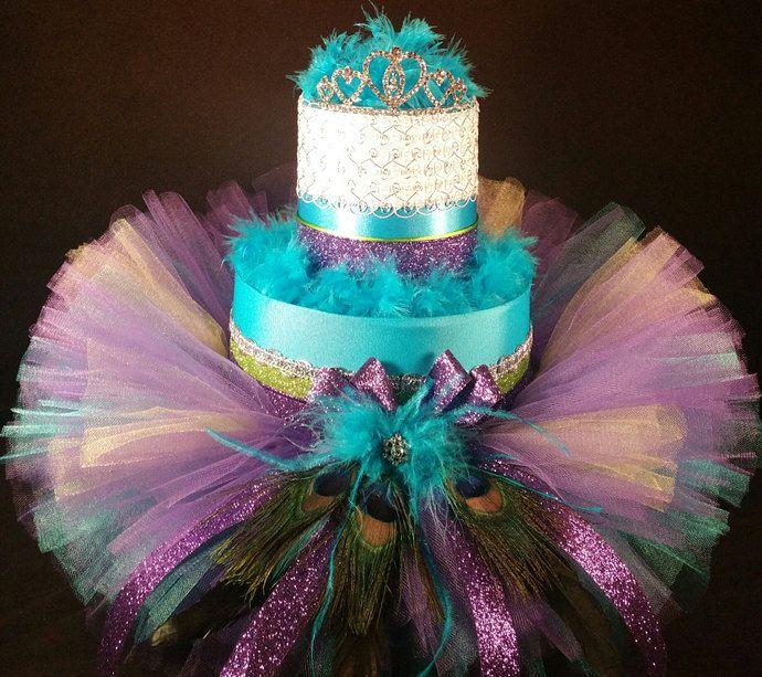 2 tier purple and teal peacock diaper cake w tutu skirt gold tiara