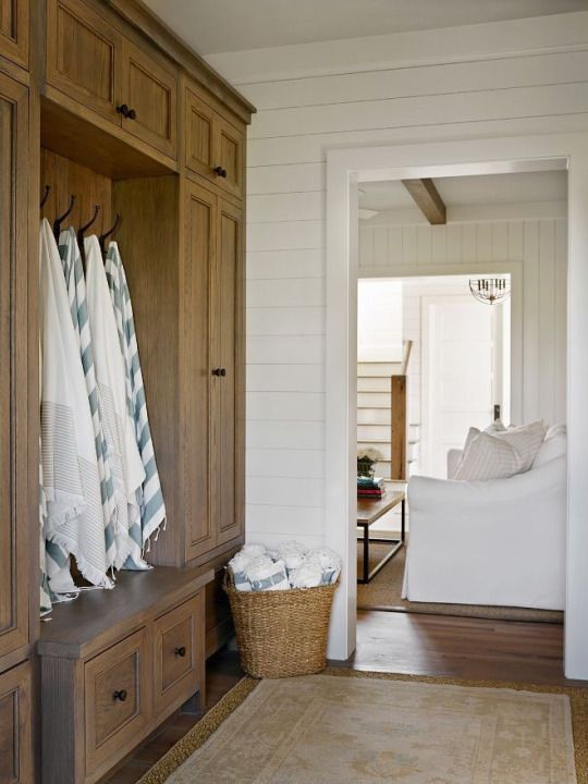 Love the shiplap and storage.  #mudroom homechanneltv.com
