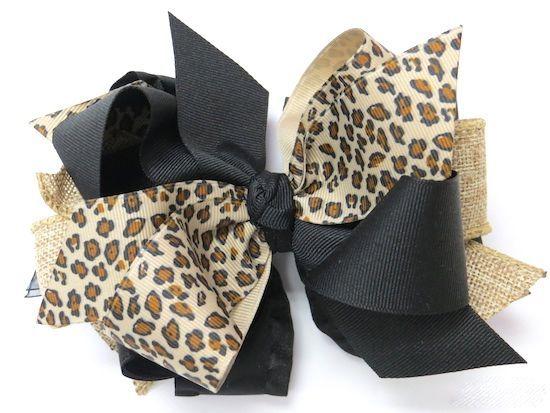 Cheetah Burlap Hair Bow from www.PinkBowtique.com