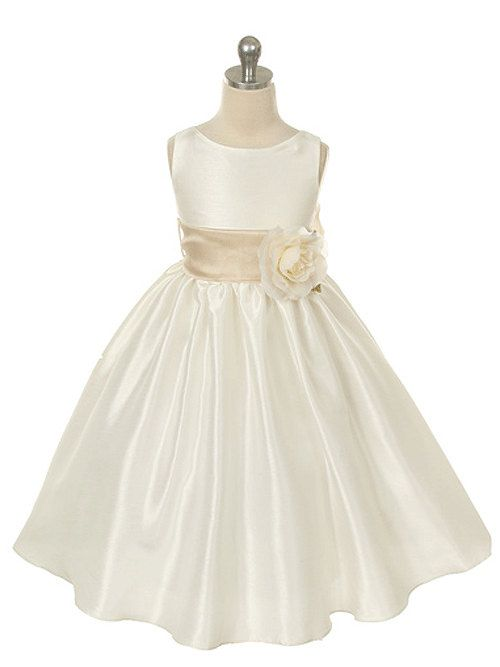 Ivory Poly-Dupioni dress with detachable sash by KidsDreamDresses