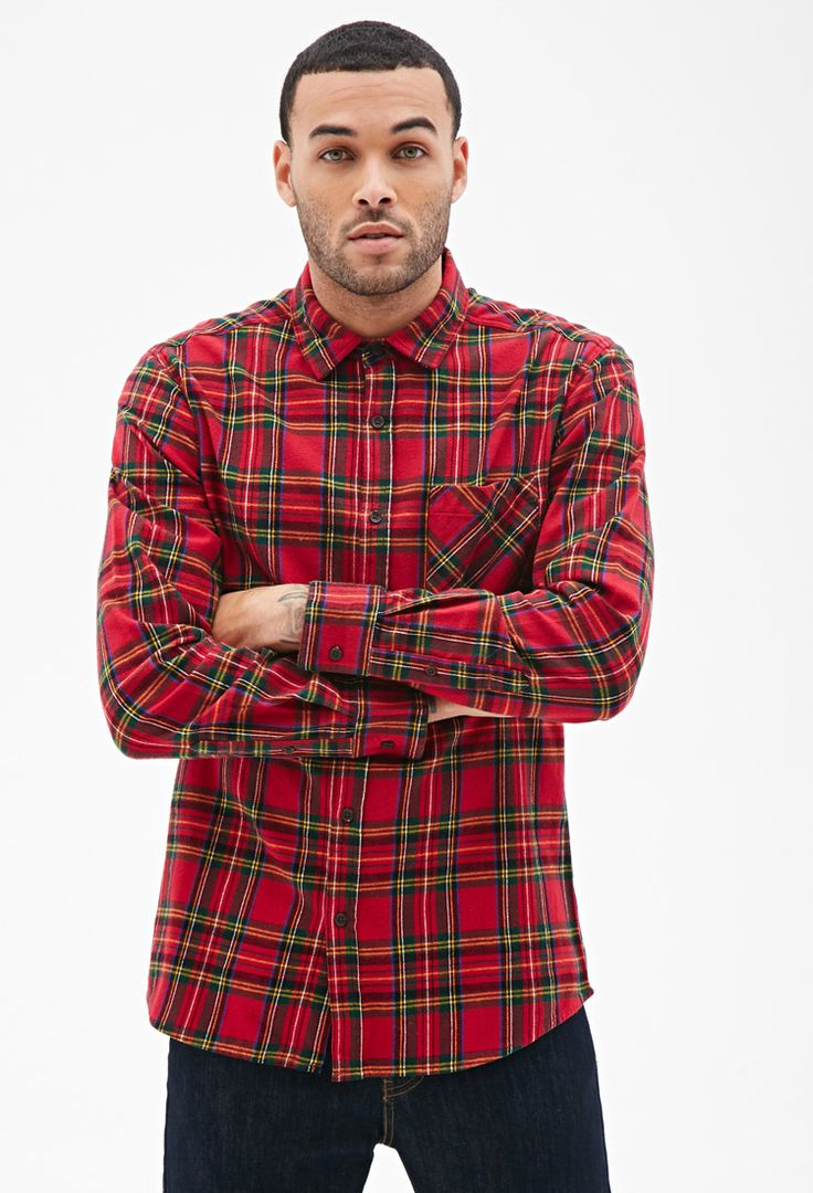 Plaid flannel collared shirt 21 men 2000102608 red for Green and black plaid flannel shirt