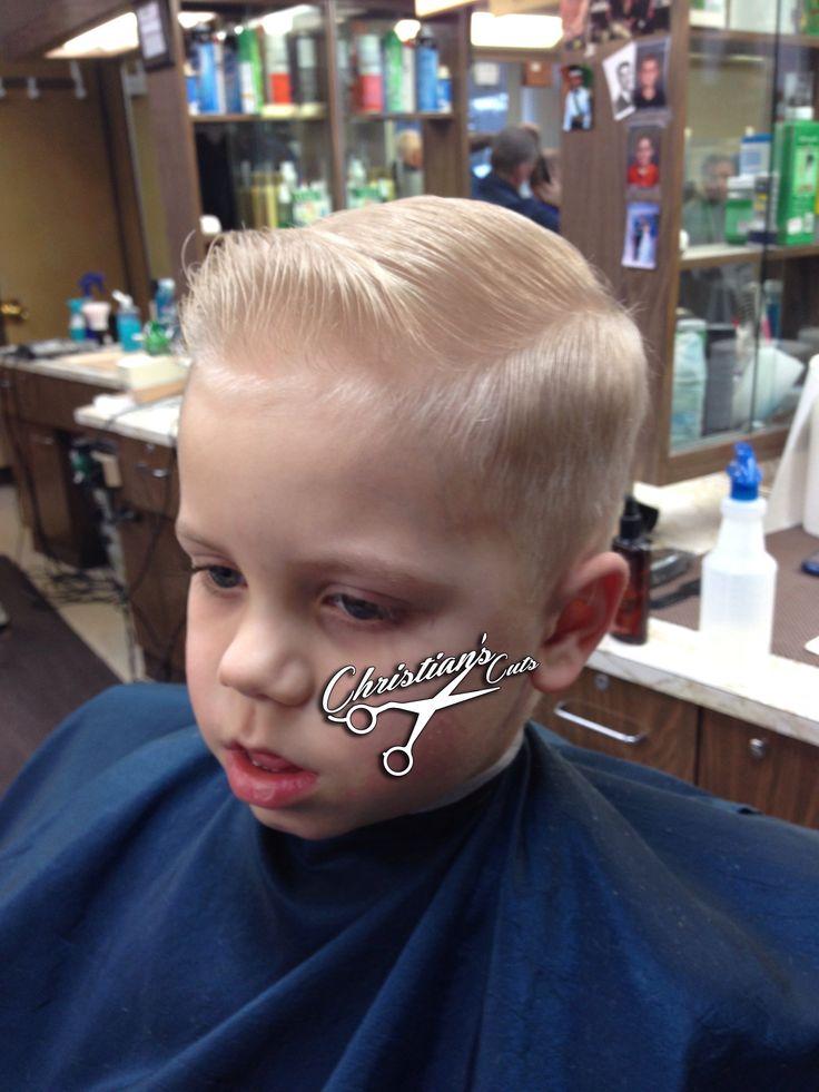Mini pompadour sidepart. We don't cut kids, we service young gentlemen.