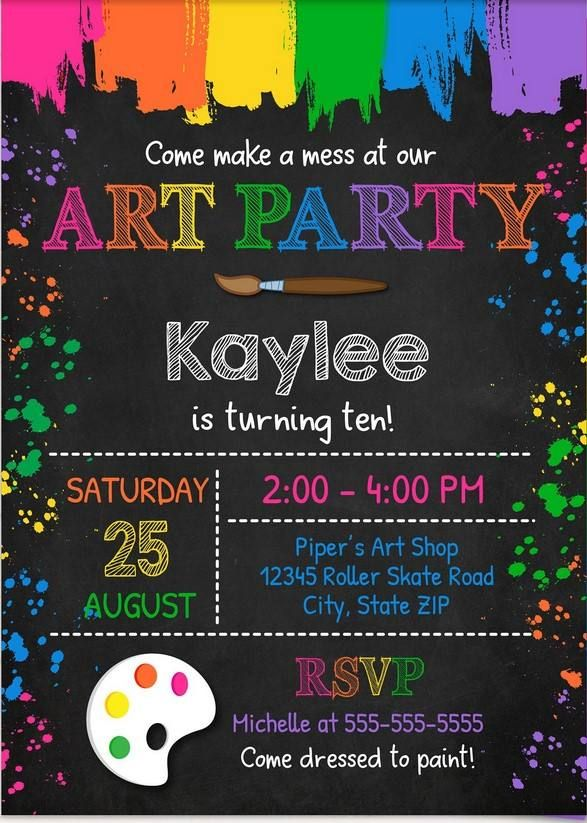 FREE Printable Art Party Invitation