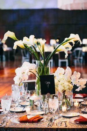 Wedding reception centerpieces calla lilies
