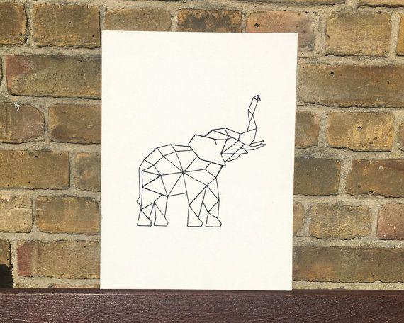 Éléphant géométrique String art / broderie par ByPryorArrangement