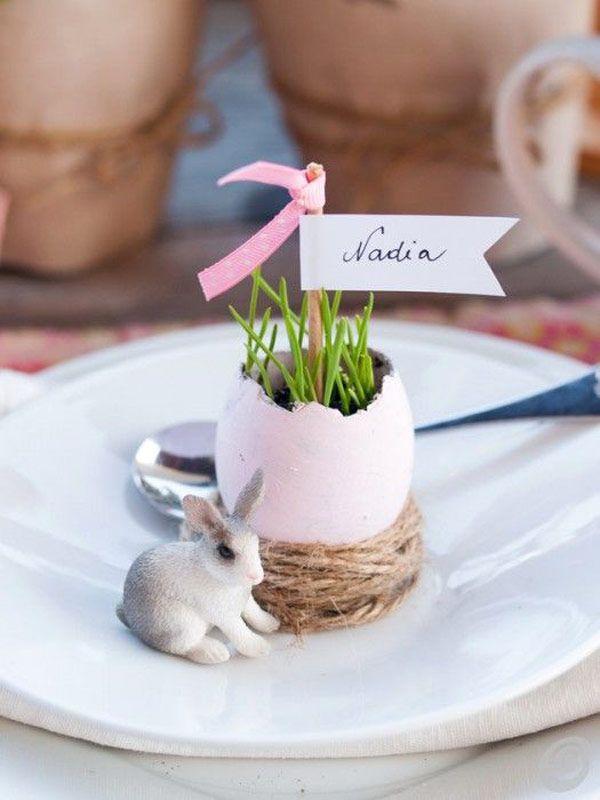 Almoço de Páscoa - mesa posta - marcador de lugar de ovo