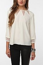 : Blouse 59, Pins, Needles Mesh Inset, Mesh Inset Blouse, Play, Blouse Urbanoutfitters, White Blouses, Nice Blouse