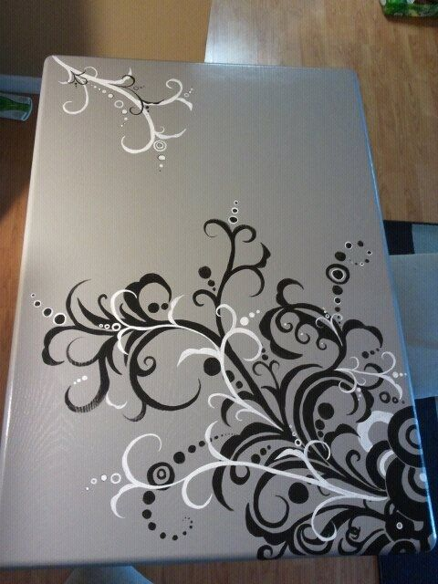 Painted table- this would look great on top of a junky painted table!