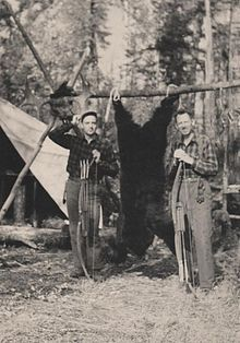 Fred Bear and Jim Henderson moose hunt 1943