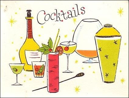 The perfect cocktail party invitations!  I found not one, but 2 packs of these super invites from the early 60s.  That means I can have one big party and invite 24 people, or 2 smaller parties and …