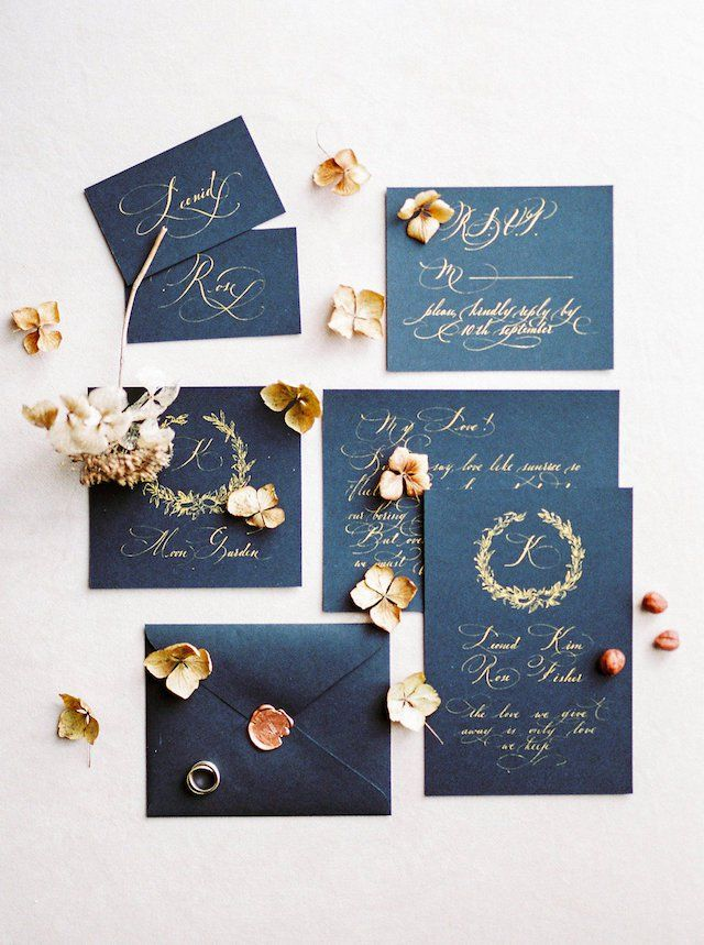 Black wedding invitation with gold calligraphy | Vitaly Ageev Photography
