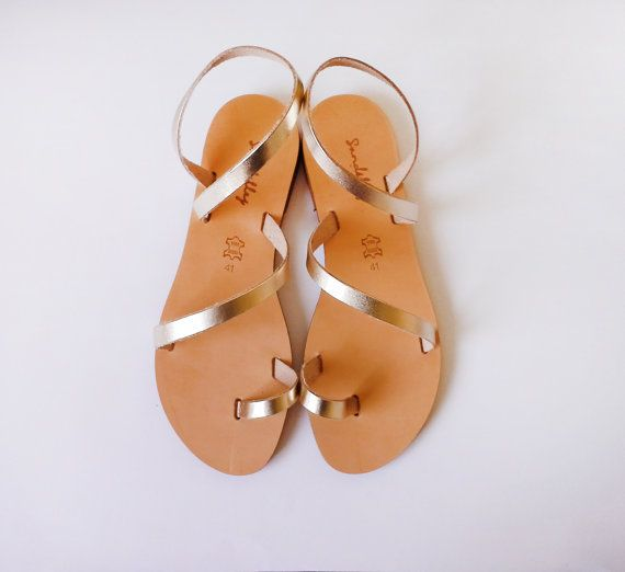 Sandals Genuine Greek Style Leather Sandals in Gold by Sandelles