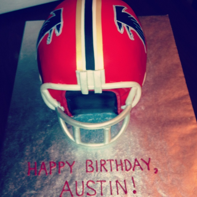 Retro Atlanta Falcons helmet birthday cake.
