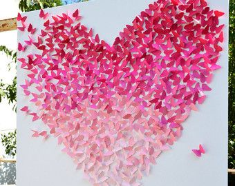 3D Pink Ombre Butterfly Heart 3D Butterfly Art by RonandNoy