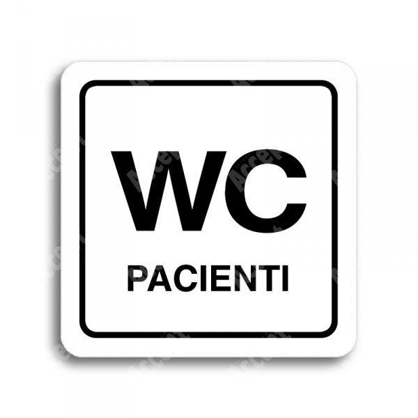 """Piktogram """"WC pacienti"""" - bílá tabulka - černý tisk"""