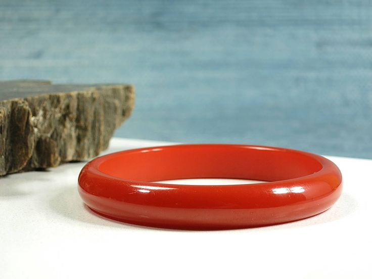 Burnt Orange Bakelite Bangle - Vintage Stacking Bakelite Bangle Bracelet - TESTED - Deep Orange Bakelite Bangle Bracelet - Stacking Bakelite by EightMileVintage on Etsy