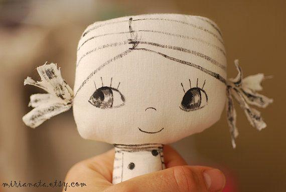 Painted fabric doll Handmade doll Ooak doll Soft doll by mirianata