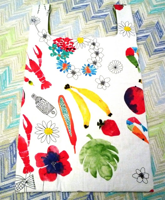 Borsa della spesa in stoffa con fantasia di frutti, cibi e foglie - Fabric shopping bag with printed fruits, foods and leaves