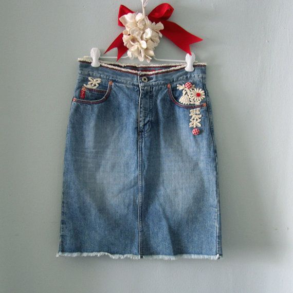 Falda denim falda de Jean falda de Jean azul por TheVelvetPrincess