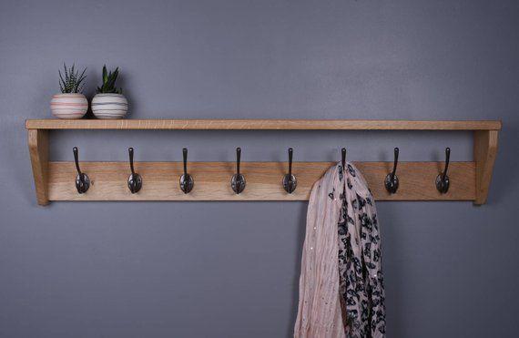 Oak Coat Rack With Shelf Wooden Cast Iron Hooks Handmade Etsy