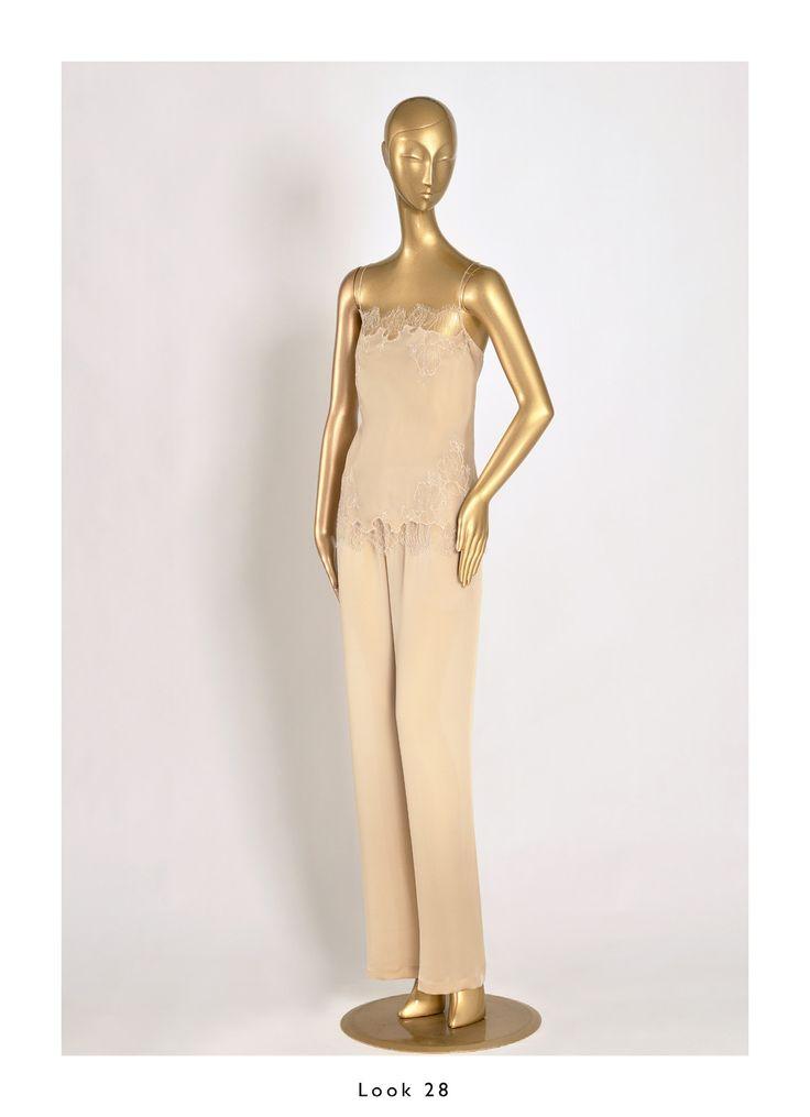 Caine Gilson 2015 Bridal Nude/Nude Camisole straight neckline Silk Satin with Lace, Pant Silk Satin