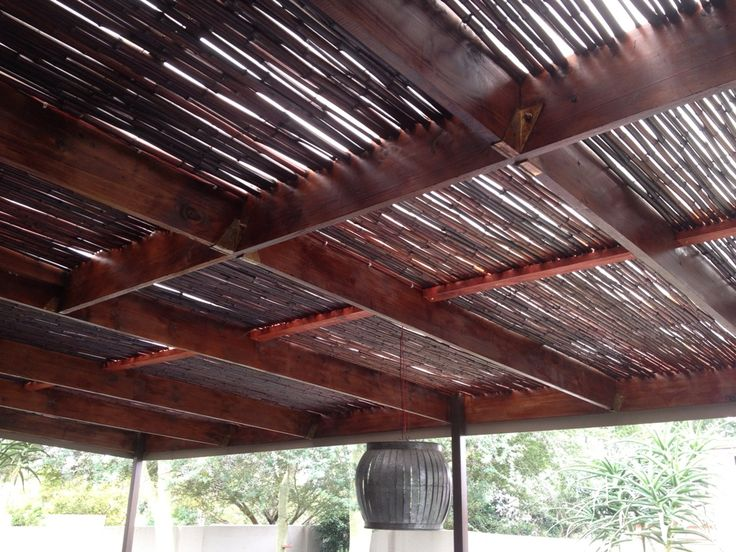 Mahogany bamboo rolls, used to create a beautiful outdoor pergola !! Job done in Dainfern.
