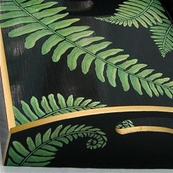 Hand Painted Fern Wooden Tray - black
