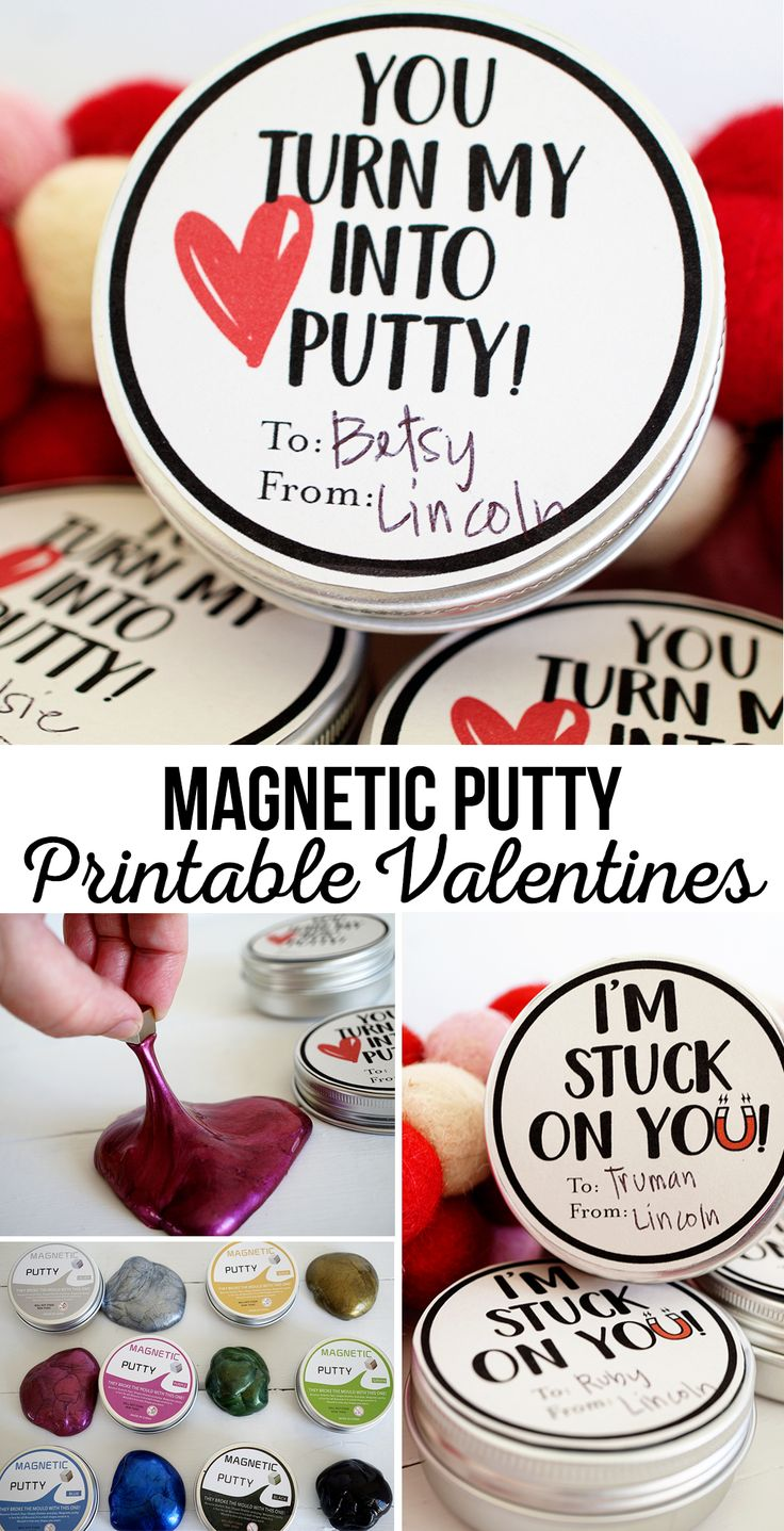 Magnetic Putty Printable Valentines | If your kids are into slime they will love to give this Magnetic Putty Printable Valentine, along with some putty to their buddies!