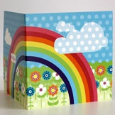 Rainbow design - kids birthday or thank you card left blank inside for your personal message by KatyJane Designs - make someone smile!