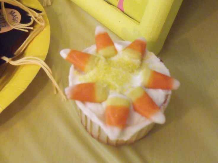 Sunshine cupcakes. The ones online had piped eyes and smiley face. Think these would have been cuter if I had done that too.