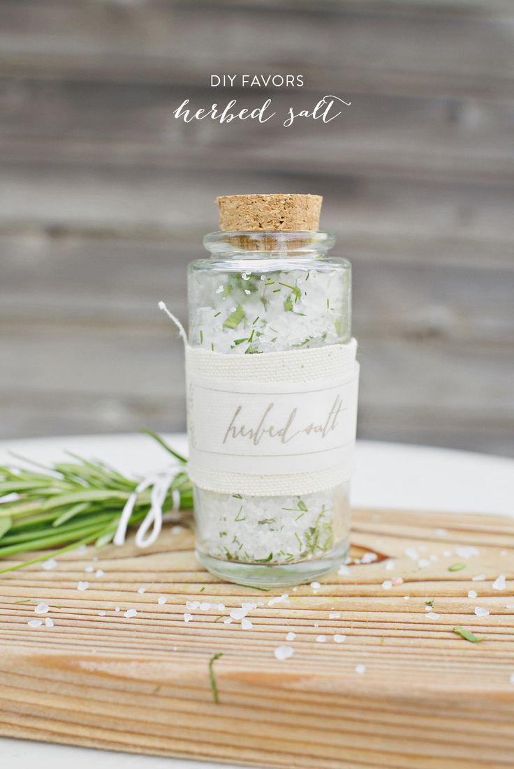 DIY Herbed Salt Favors from Alisa Lewis Event Design  Read more - http://www.stylemepretty.com/little-black-book-blog/2013/09/26/diy-herbed-salt-favors/
