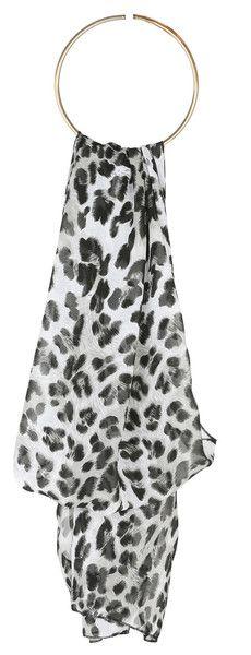 Monochrome Leopard Print Soft-feel Scarf