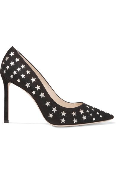 Jimmy Choo - Romy Laser-cut Suede And Metallic Leather Pumps - Black - IT34.5
