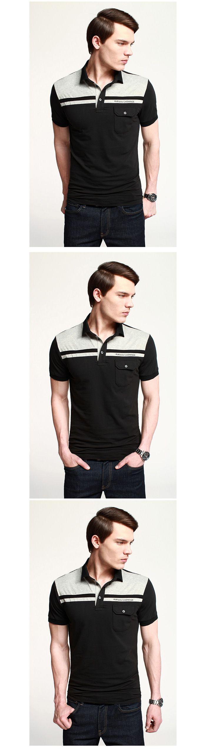 Classic Style Contrast Paneled Yoke Single Pocket Trim Polo Shirt For Men, Shop online for $27.50 Cheap Polo Shirts code 700315 - Eastclothes.com