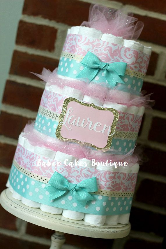 3 Tier Pink Mint and Gold Diaper Cake Baby by BabeeCakesBoutique